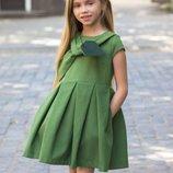 Детское нарядное пышное платье для девочек 110 116 122 128 134 140 146 152 158 зеленый