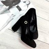 Женские чёрные замшевые туфли