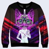 Мужской свитшот 3D Three-eyed cat Большой выбор