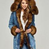 Зимняя парка натуральный мех Бесплатная доставка mnv-65 джинс рыжий песец зимняя куртка холлофайбер
