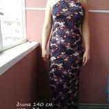 Длинное платье майка яркой расцветки длина 140 см