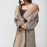 Пальто-Кардиган с мех чернобурки Бесплатная доставка mnv-32кор капучино пальто итальянской из шерсти