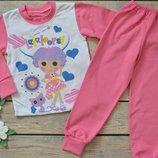 Пижама теплая на девочку, на баечке, с начесом, хлопок, р.86-92-98-104-110-116-122