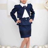 Школьный комплект для девочки юбка с баской, болеро с кружевом, блуза с макраме