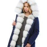 Парка натуральный мех Бесплатная доставка mnv-16ех синий зимняя куртка с мехом White Fox