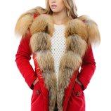 Зимняя парка с натуральным мехом Бесплатная доставка mnv-16ех красный мех Gold Fox