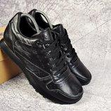 Мужские кроссовки Reebok classic кожа 41-45р черные на черной подошве