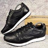 Мужские кроссовки Reebok classic кожа 41-45р черные, коричневые, синие
