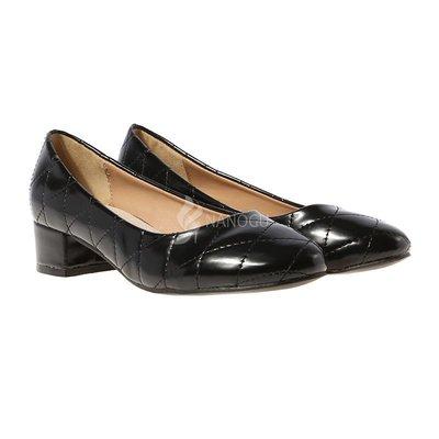Туфли Vices кожаная стелька женские на широком устойчивом каблуке черные