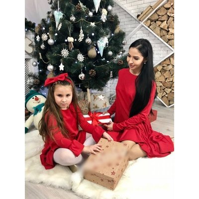 Комплект платьев фемели лук мама дочка с рюшей