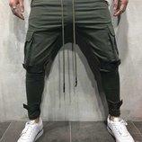 мужские спортивные штаны Ткань турецкая двух нитка высокого качества Цвет черный, хаки Размер 4