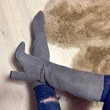 Женские стильные демисезонные сапоги Angel натуральная замша каблук 10 см