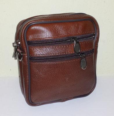Мужская сумка из натуральной кожи 17x14x9см арт.065-Brown