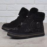 SALE Ботинки зимние опушка цигейка Sopra женские на платформе черные со стразами