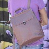 Красивый кожаный рюкзак-сумка лилового цвета