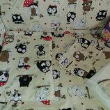 Детский постельный набор в кроватку 8 предметов Сова с зонтиком, 5 цветов