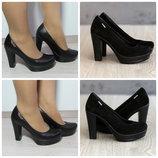 Туфли женские замшевые и кожаные на каблуке
