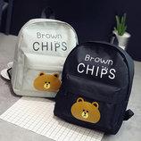 Большой тканевый рюкзак для школы с мишкой Brown Chips В Наличии
