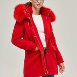 Пальто-Парка натуральный мех Бесплатная доставка mnv-64 красное зимнее пальто с пецом и HollowSoft