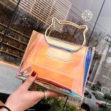 Оригинальная прозрачная сумка с ручками-котиками В Наличии