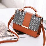 Стильная сумка сундук со вставкой под ткань В Наличии