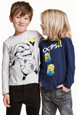 Комплект 2шт. футболка лонгслив с миньонами хлопок лонгслів бавовна от h&m