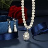 Набор украшения ожерелье и серьги имитация жемчуга
