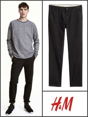 Черные брюки чинос slim fit размер 34 от h&m