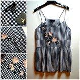 Новая стильная блуза в клетку с вышивкой цветы вискоза