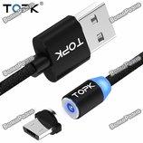 Кабель магнитный USB TOPK черного цвета. USB-кабель