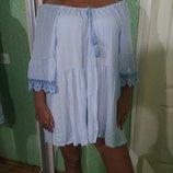 Голубое платье туника рубашка оверсайз с кистями Италия батист