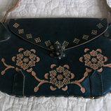 Изумрудная сумочка-клатч, натуральная кожа