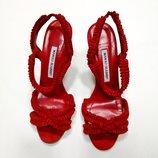 Босоножки Manolo Blahnik, оригинал, замшевые, цвет - красный.