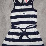 Трикотажное платье Next в сине -белую полоску. На девочку 8 лет.