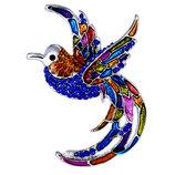 Яркие броши птица колибри птичка бабочка эмаль стразы