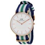 Часы Daniel Wellington зелено-бело-синий ремешок