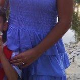Шикарное лавандовое платье хлопок с ярусами