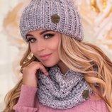 женский вязаный комплект шапка и шарф-хомут Лорис 4623-7