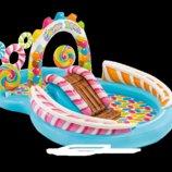 Детский надувной центр Intex 57149 «Карамель» 259 х 191 х 130 см с шариками горкой и фонтаном