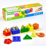 Деревянные игрушки геометрическая пирамида сортер логика 5 фигур