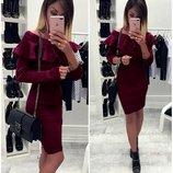 Бордовое платье с воланом из ангоры ангоровое платье с воланом
