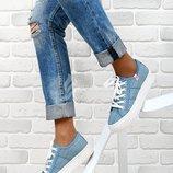 Кеды женские на платформе джинсовые светлые Kylie на шнуровке