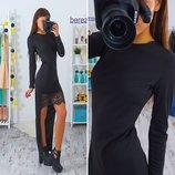 Платье с кружевом с шлейфом