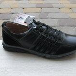 40-45р Мужские подростковые туфли - кроссовки черные натуральная кожа Kangfu