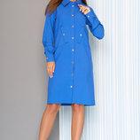 Платье-Рубашка с втачными рукавами L-541 джинс