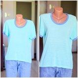 Бирюзовая футболка винтажная ментоловая футболка 14 размер олдскульная футболка