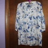 красивая воздушная удлиненная блуза в цветочный принт marks&spencer хлопок шелк