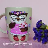 Чашка с декором полимерной глиной Летняя совушка .Кружка с полимерной глиной. Совушка-сладкоежка