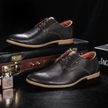 Мужские кожаные классические туфли Yuves коричневые, код gavk-m5-1