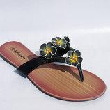 Вьетнамки женские черные, голубые с цветами низкий каблук